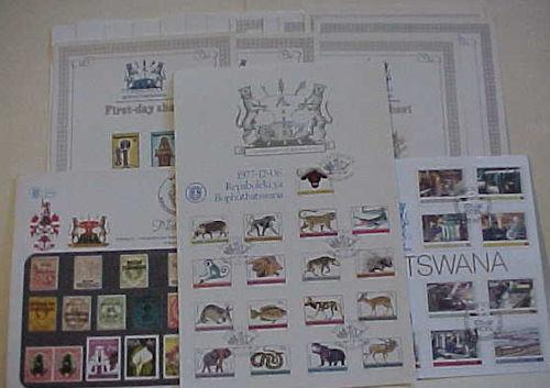 BOPHUTHATSWANA  11 FD FOLDERS 1978-1979 also 16 FD CARDS & 2 SETS OF 17 FD CARDS