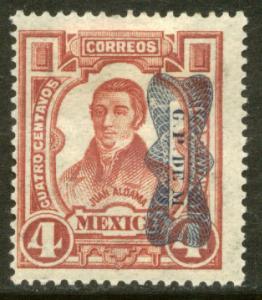 MEXICO 520Var 4¢ INVERTED CORBATA REVOLUTIONARY OVERPRINT UNUSED, NG. VF.