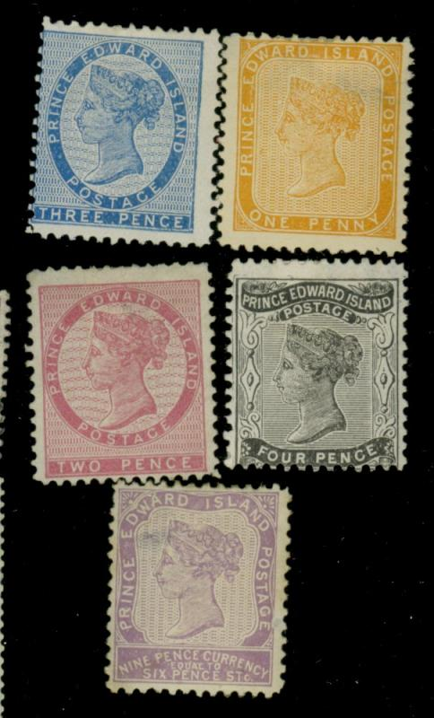 Prince Ed Islands #4-8 MINT Fine No gum HR #8 OG Thin Cat$268.50