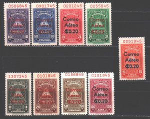 Nicaragua. 1961. 1271-79. Fiscal Consular Stamps. MLH.
