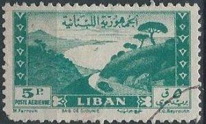 Lebanon C119 (used, pulled corner) 5p Bay of Jounie, dp blue grn (1947)