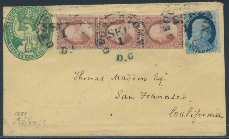 #24, 26 (3x) ON GEORGETOWN COLLEGE GREEN CAMEO 1859 COVER BS3810