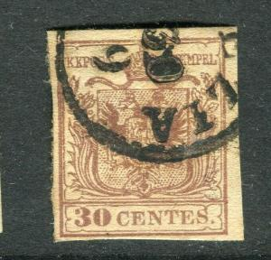 AUSTRIA; LOMBARDY 1850 early classic Imperf issue fine used 30c. value