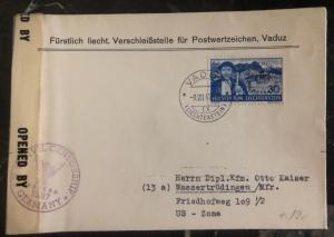 1947 Vaduz Liechtenstein Censored Cover To Wassertrüdingen Germany US Zone AMG