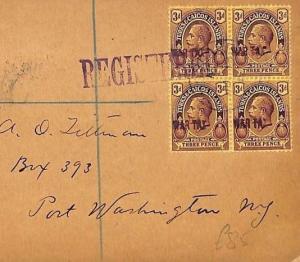 AB346 British 1919 Turks & Caicos WAR TAX Block{4} Cover {samwells-covers}PTS