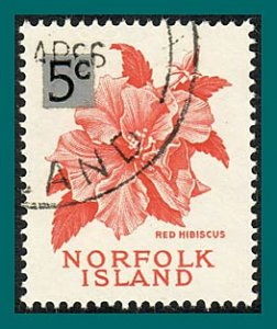 Norfolk Island 1966 Surcharge Hibiscus, used #75,SG64