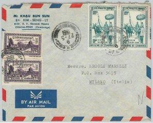 44743 - CAMBODIA Cambodge - POSTAL HISTORY - COVER to ITALY 1961
