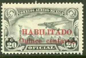 MEXICO CO16, 15cts on 20cts HABILITADO OFFICIAL AIR MAIL, MINT, NH. F-VF.