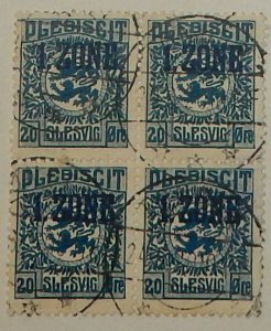 Schleswig 20. 1920 20o Dark blue, 1. Zone overprint, used block of four