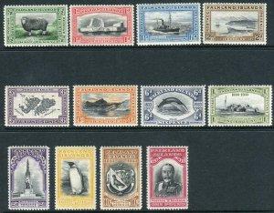 FALKLAND ISLANDS-1933 Centenary.  A lightly mounted mint set to £1 Sg 127-138