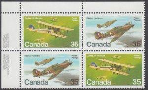 Canada - #876a Military Aircraft Plate Block - MNH