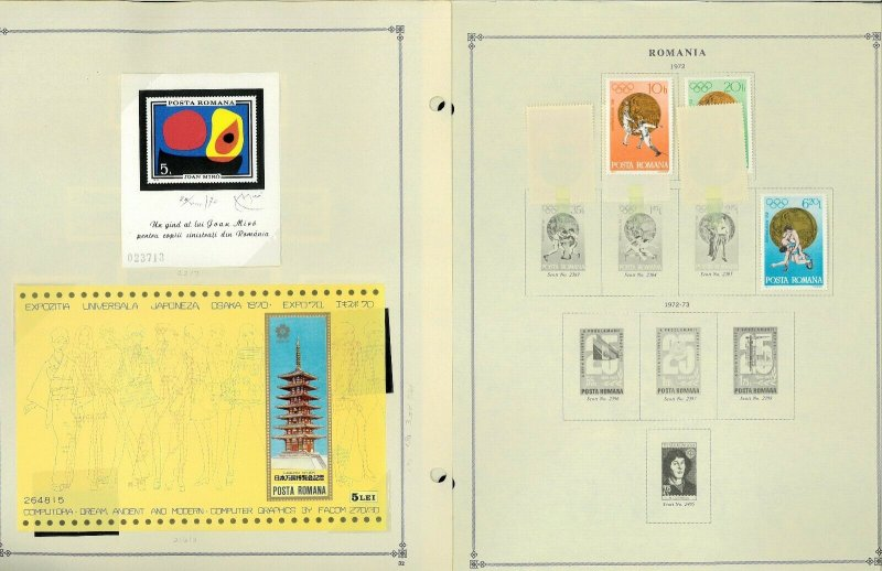 Romania 1955-1984 CTO (mostly), M & U Hinged on Scott International Pages
