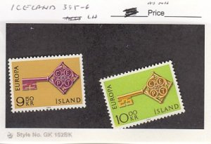 J25781  jlstamps 1968 iceland set mh #395-6 europa checked f/condition