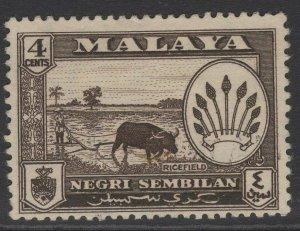 MALAYA NEGRI SEMBILAN SG70 1957 4c SEPIA FINE USED