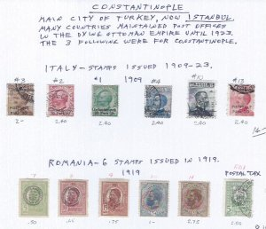 CONSTANTINOPLE USED ITALY & ROMANIA ISSUES SCV $ 22.00+