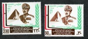 1981 -  Egypt - President Sadat Commemoration- Flag - Complete  set 2v.MNH**