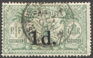 NEW HEBRIDES 1924 Sc 38, Used  VF 1d / 1/2d  Arms, French Ship Cancel