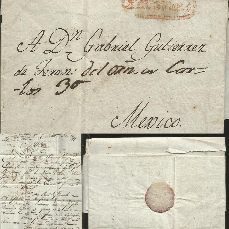 J) 1800 MEXICO, COLONIAL MAIL, RED CANCELLATION, COMPLETE LETTER, CIRCULATED COV