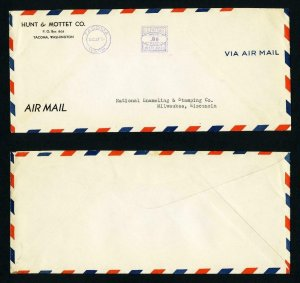 Air Mail Cover from Hunt & Mottet, Tacoma, WA to Milwaukee, WI dated 8-27-1936