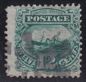 US STAMP #117 – 1869 12c S.S. Adriatic, green Pictorial Issue used stamp