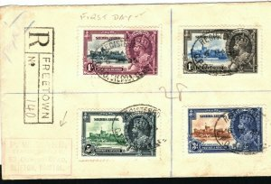 SIERRA LEONE KGV FDC SILVER JUBILEE Set First Day Cover Registered 1935 PB248