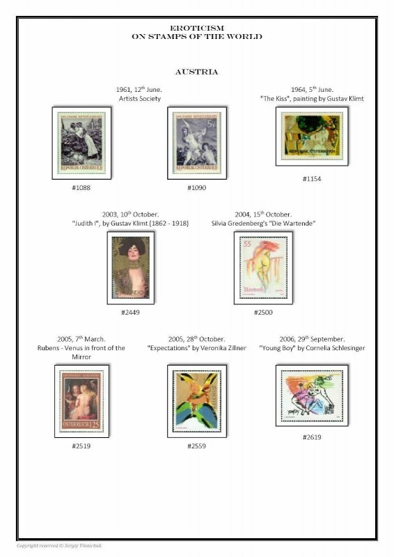 Eroticism on the stamps of the world 1961-2016