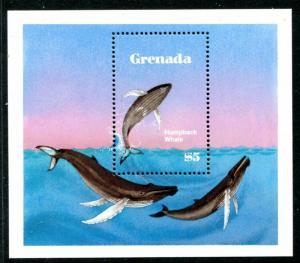 Grenada 1144 MNH $10.0 Michel 1201 Bl.112. Whale 1982 Humpbuck whale x11813