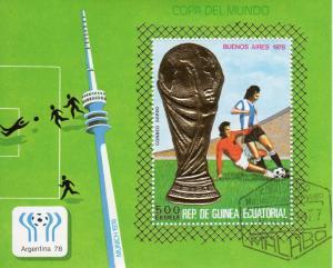Equatorial Guinea 1977 Mi#B265 World Cup Argentina 78 Munchen74 SS Gold Perf.CTO