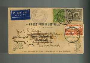 1934 FAith in Australia to New Zealand FFC First Flight Cover VH UXX Mixed Frank