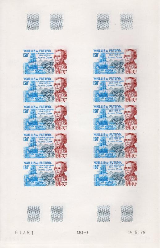 Wallis and Futuna 1979 Sc#C96 CAPT.JAMES COOK Mini-Sheetlet of 10 IMPERFORATED