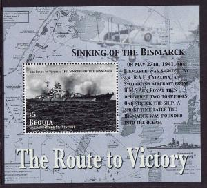 St. Vincent Grenadines-Bequia-Sc#357-unused NH sheet-Ships-Bismarck sinking-WWII