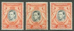 KENYA, UGANDA, & TANZANIA #74, 74c, 74d MINT