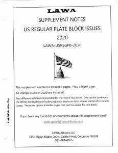 2020 US Regular Plate Blocks Issue Supplement - LAWA Album Pages