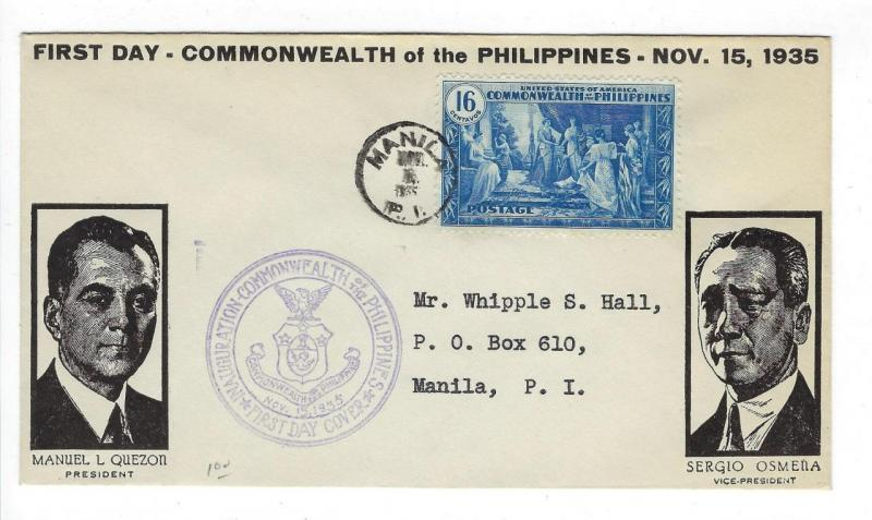 1935 Philippines First Day Cover - Issue Of The Commonwealth - Sc #399 (DD108)