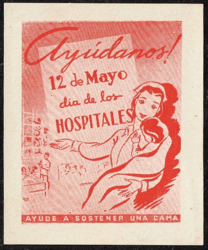CUBA STAMP VIÑETAS CINDERELLA. 1950  HOSPITAL  MEDICINE NURSE MNH LOT #7