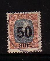 Iceland Sc 138 50 aur overprint on 5 kr Christian IX stamp used