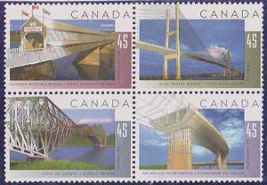 Canada - #1573a - 1995 Bridges Se-Tenant Block of 4 #1573a