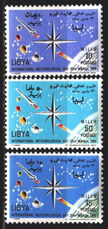 Libya. 1965. 185-87. International Meteorological Day, rockets. MLH.