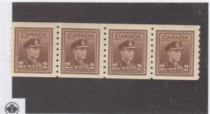 CANADA (MK58) # 264 VF-MNH  2cts KGVI WAR ISSUE COIL STRIP OF 4/BRN CAT VAL $18