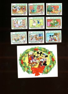 TURKS & CAICOS ISLANDS - Sc 540-549 VFMNH. DISNEY - Mickey Christmas Carol, 1982