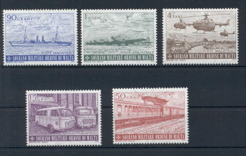 Transport Ships Planes Helicopters Sovereign Order of Malta 5 MNH stamps set