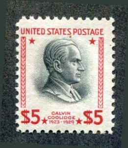 US # 834  $5 Coolidge,Prexie F NH MNH 1938 Flat Plate Printing Perf 11