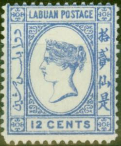Labuan 1892 12c Brt Blue SG45a No Right Foot to 2nd Chinese Character Fine Unuse
