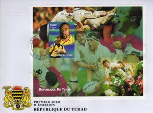 Chad 2002 RUGBY JONAH LOMU s/s Imperforated in FDC VF