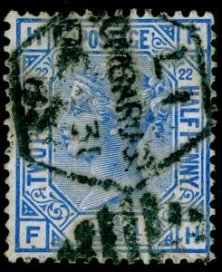 SG157, 2½d blue PLATE 22, USED. Cat £45. FH