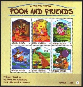 Antigua and Barbuda. 1998. Small sheet 2691-96. Winnie the pooh, fairy tale, ...