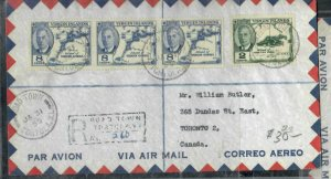 VIRGIN ISLANDS COVER (P0407B)  1955 KGVI 8C MAP X3+2C REG A/M ROADTOWN TO CANADA
