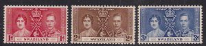 Swaziland 1937 KGV1 Set 3 Coronation MM  SG 25 - 27 ( E86 )