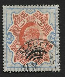India 1902 King Edward KEdVII 25R Top value used hinged SG147 £1800 - Rare