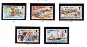 Alderney Sc 60-64 1991 Casquets Lighthouse stamp set mint NH